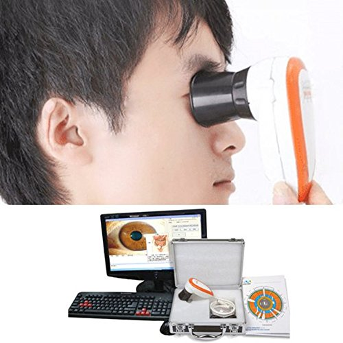 Funwill Shipping from USA 5.0 MP USB Iriscope Iris Analyzer Iridology Camera with Pro Software LED Illuminator Single/Dual Lamp Control Adjustable Analysis System Instrument ()