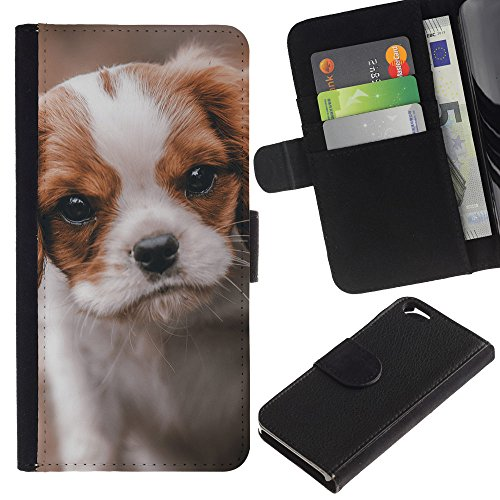 EuroCase - Apple Iphone 6 4.7 - cavalier king Charles puppy dog vignette - Cuir PU Coverture Shell Armure Coque Coq Cas Etui Housse Case Cover