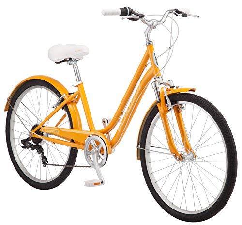 Schwinn Suburban Comfort Hybrid Bike, Featuring Low Step-Through Steel Frame and 7-Speed Drivetrain with 26-Inch Wheels, Small/16-Inch Frame, Orange