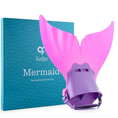 Mermaid Monofin, Adjustable Mermaid Swim Fin Foot Flipper for Kids Girls Swimming Diving Training by Auxfun (Tail Swim Fin)