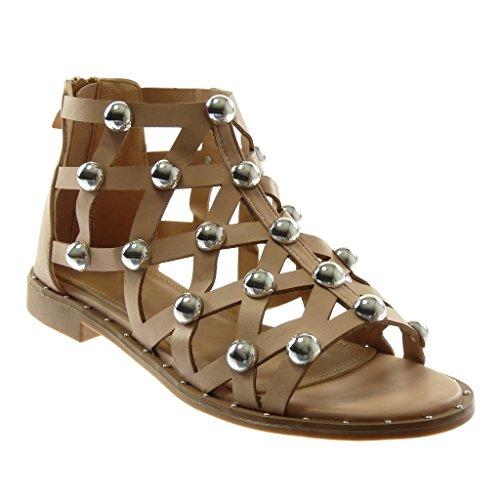 Sandale Perle Spartiates Clouté Chaussure Angkorly Perforée Montante Femme Mode Rose Bloc cm Talon 2 EqUxTw8f