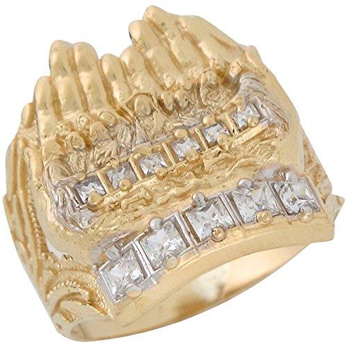 14k Two-Tone Gold White CZ Last Supper Religious Designer Inspired Mens Ring