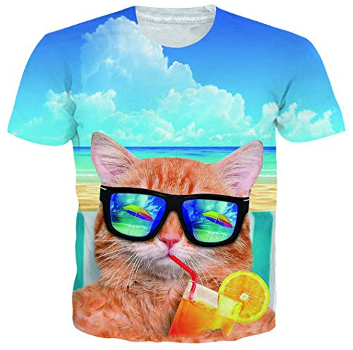 Goodstoworld 3D Novelty Blue T-Shirts for Men Male Sunglasses Cat Funny Short Sleeve Big and Tall Hawaiian Shirt Casual Street Hilarious Funky Graphic Tees for Women Teen Boys Girls 3D Clothing Small