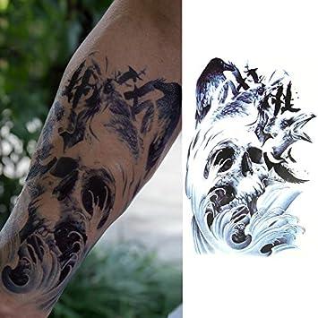 Oottati Tatuajes Temporales Old School Cráneo Las Olas (2 hojas ...