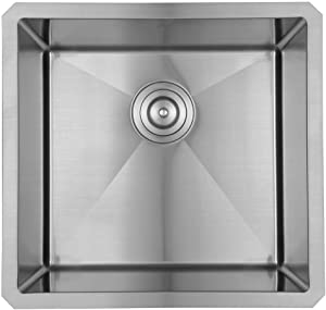 Starstar 16 x 18 inch Undermount 304 Stainless Steel Single Bowl Bar/Kitchen/Laundry/Yard/Office Sink (Without Grid)