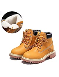 WHENOW Leather Combat Military Ankle Mid Calf Boots Shoes(Toddler/Little Kid/Big Kid)