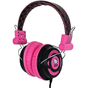 Hello Kitty DJ Style Over the Ear Foldable Headphones - Retail Packaging - Pink/Black
