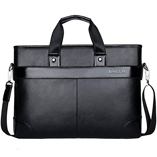 (JN3008-K) Hombres bolsa de cuero para hombres bolsa de trabajo 3-way bandolera bandolera a4 bolsa de trabajo a prueba de agua de cuero genuino bolso viajero de cercanías público Negro