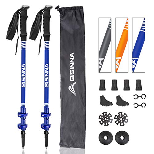 BISINNA Hiking Trekking Poles-2 Pack Adjustable Ultra Strong & Lightweight Aluminum 7075 Collapsible Hiking/Walking Sticks with EVA Grips, Quick Locks, 4 Season/All Terrain Accessories and Carry Bag