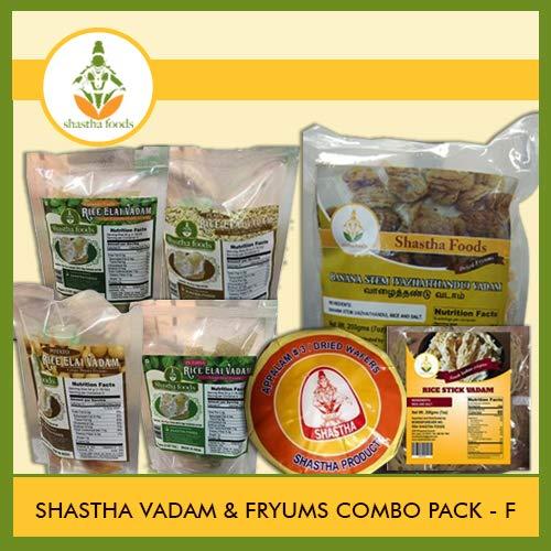 Shastha Vadam Combo Pack F (Contains 10 Items) Elai Vadam (4 Flavors) - 4 Pkts, Vazhathandu Vadam - 2 Pkts, Rice Stick Vadam - 2 Pkts & Appalam # 3-2 Pkts (T-M)