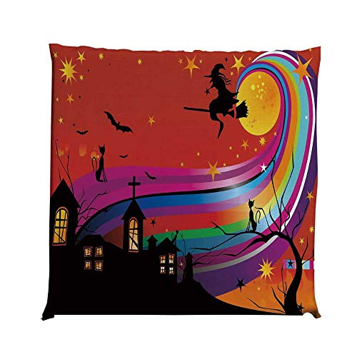 YOLIYANA Halloween Durable Square Chair Pad,Witch Woman on Broomstick Bats Cat Stars Rainbow Moon Castle Abstract Colorful Decorative for Bedroom Living Room,One Size]()