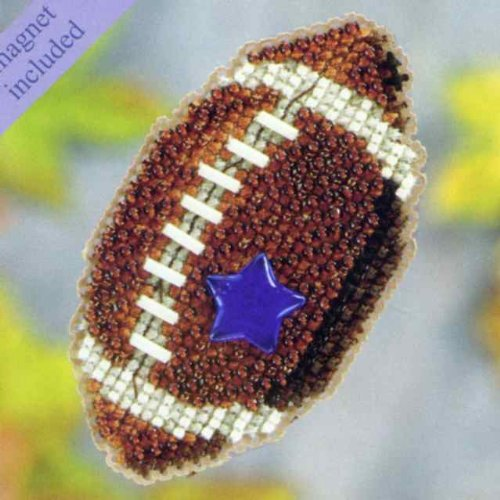 Football Beaded Counted Cross Stitch Ornament Kit Mill hill
