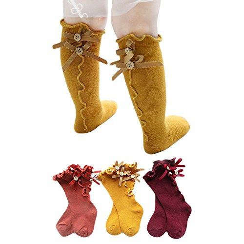Orange Bow Socks - 3 Pairs Baby Knee High Socks for Girls Boys Newborn Stockings Cotton Toddler New (S, Orange, Yellow, Wine Red)