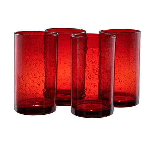 Artland 50607B Iris Hiball Glass, Set Of 4, 17 oz, Ruby