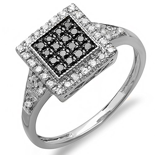 Unique Right Hand Rings (0.32 Carat ( ctw) Sterling Silver Round Black & White Diamond Cocktail Right Hand Ring (Size 7))
