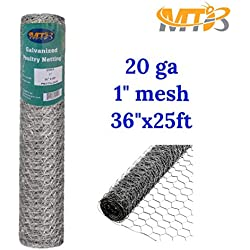 "Galvanized Hexagonal Poultry Netting, Chicken Wire 36""x25'- 1"" 20GA (also sold in 50' / 150' length)"