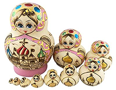 Beautiful Big Belly Shape Pink Little Girl in Moscow Kremlin Handmade Wooden Russian Nesting Dolls Matryoshka Dolls Set 10 Pieces for Kids Toy Birthday Home Decoration