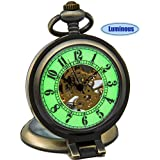 SEWOR Vintage Skeleton Mens Pocket Watch Luminous Case Mechanical Hand Wind with Brand Leather Gift Box (Stand up Bronze)