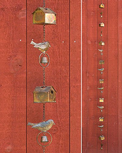 Ancient Graffiti Flamed Birdhouse with Bird and Bell Rain Chain, 4.5'' x 104'' x 4.5'' by Ancient Graffiti (Image #3)