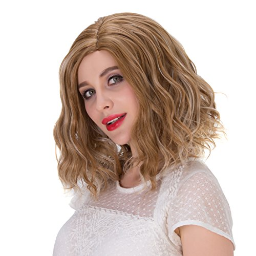 Probeauty Beach Wave Curly Short Wig (Brown Mix)]()