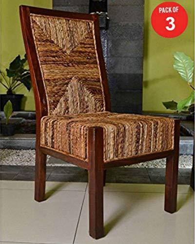 International Caravan Furniture Piece Dallas Abaca Weave Dining Chair (Pack of 3)