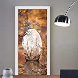 Gzhihine custom made 3d door stickers Sailboat Art Full Moon Fairy Scene with Modern Abstract Paintings Teens Room Dorm Decor Accessories Machine Washable Silky Satin Orange Gray White For  Roo