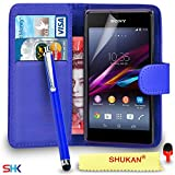 Sony Xperia E1 Premium Leather Blue Wallet Flip Case Cover Pouch + Big Touch Stylus PenRED DS+ Screen Protector & Polishing Cloth SVL2 BY SHUKAN®, (WALLET BLUE)