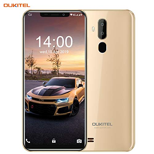 OUKITEL C12 Unlocked Smartphone Global 3G, 6.18''(19:9) Screen, 2GB +16GB, Android 8.1, MT6580 Ouad-Core, 8MP+2MP Cameras, Dual Sim, Face Fingerprint Recognition Unlocked Cell Phones- Gold