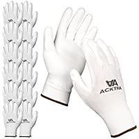 ACKTRA Ultra-Thin Polyurethane (PU) Coated Nylon Safety WORK GLOVES 12 Pairs, Knit Wrist Cuff, for Precision Work, for Men & Women, WG002 White Polyester, White Polyurethane, X-Large