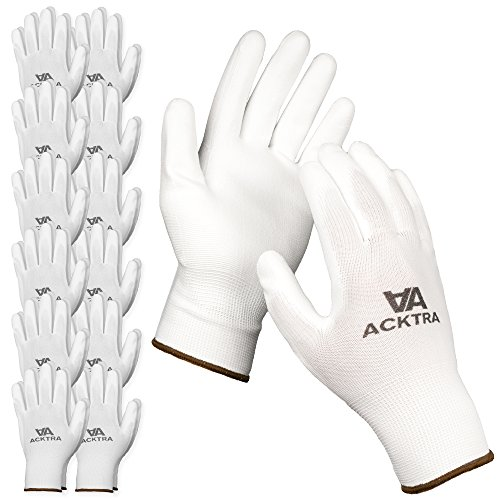 ACKTRA Ultra-Thin Polyurethane (PU) Coated Nylon Safety WORK GLOVES 12 Pairs, Knit Wrist Cuff, for Precision Work, for Men & Women, WG002 White Polyester, White Polyurethane, Large