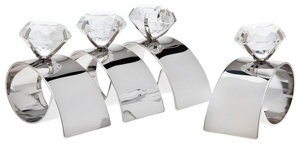 Godinger 67095 Arch Diamond Napkin Rings - Set of 4   B008GOZSAY
