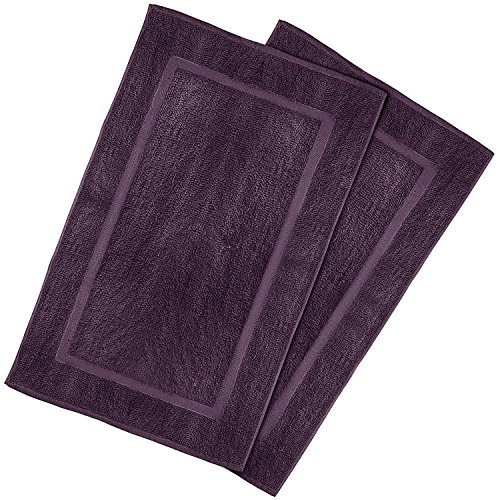 Utopia Towels 21-Inch-by-34-Inch Washable Cotton Banded Bath Mat, 2 Pack, Plum