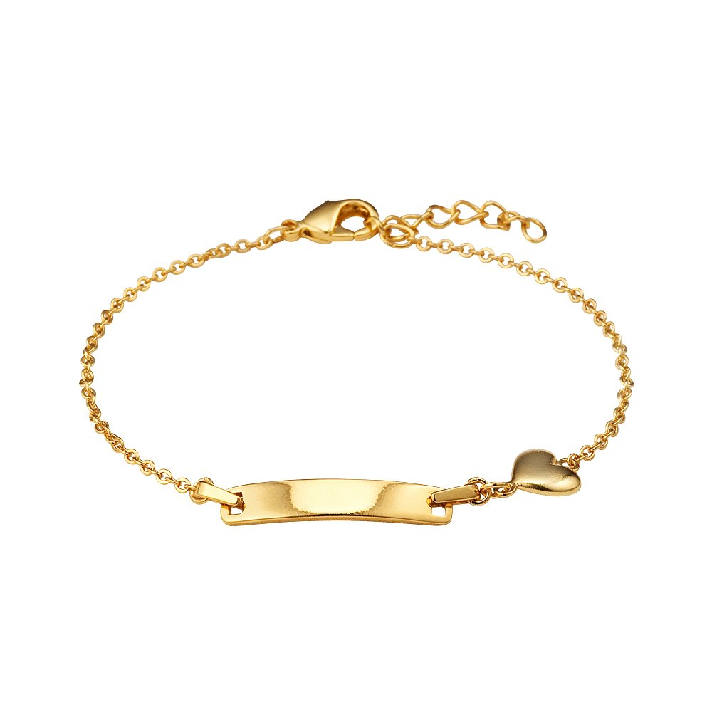 14k Gold Plated Brass Baby ID Plain Heart Rolo Link Chain Girls 6.5