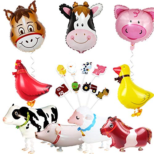 Farm Animal Party Decorations Barnyard Foil Balloons and Cupcake Topper(Duck Chicken Cow Sheep Pig -