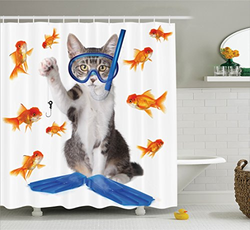 Ambesonne Collection Curiosity Goldfish Polyester