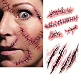 Lisli® 10pcs Halloween Zombie Scars Tattoos with Fake Scab Blood Costume Makeup Water Proof Temporary Scar Tattoo Sticker