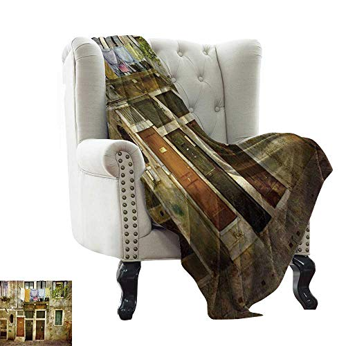 BelleAckerman King Size Blanket Venice,Old Weathered Building Facade with Hanged Clothes Murano Island Grunge Architecture,Multicolor Warm Couch/Bed Throws Blanket 60