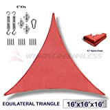 Windscreen4less 16' x 16' x 16' Equilateral Triangle Sun Shade Sail with 6 inch Hardware Kit - Rust Red Durable UV Shelter Canopy for Patio Outdoor Backyard - Custom Size Available