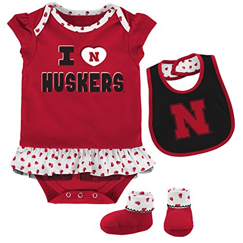 NCAA by Outerstuff NCAA Nebraska Cornhuskers Newborn & Infant ''Team Love'' Bib & Booties Set, Dark Red, 6-9 Months by NCAA by Outerstuff