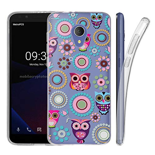 for Alcatel 1X Evolve Ideal Xtra 5059 / TCL LX (502DL) Case, Slim-Fit Flexible Soft TPU Gel Protective Case [Wireless Charging Capable] - Owl/Circle Collage - Playboy Circles