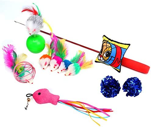 upsimples Cat Toys Including Cat Teaser Wand Interactive Feather Toy Fluffy Mouse Mylar Crinkle Balls Catnip Pillow for Kitten Kitty 2