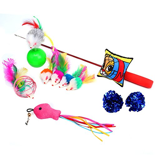 Cat Toys 10 Pieces Including Cat Teaser Wand Interactive Feather Toy Fluffy Mouse Mylar Crinkle Balls Catnip Pillow for Kitten (Kitty Teaser)