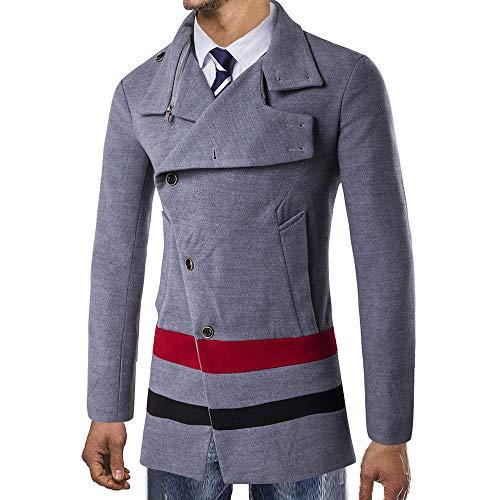 Bouton Pardessus Costume Chaud veste De Outwear Intelligent Hiver Conqueror Pour Manteaux Trench Hommes Gris Long g7Iqz8