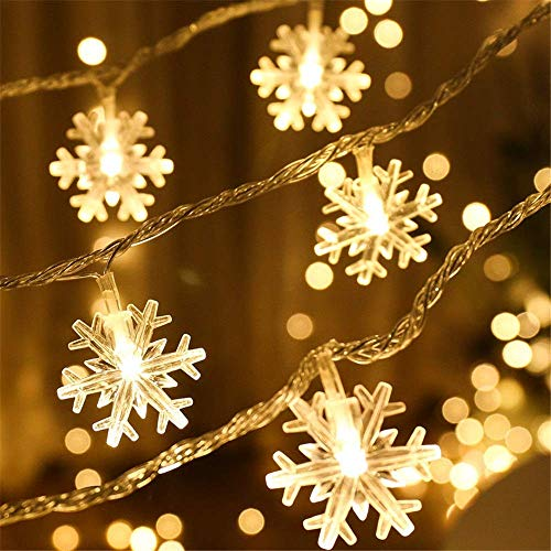 Baixiyan Christmas Snowflake Led String Lights 32.8ft 100 Plug-in LED Color-Changing 8 Mode Fairy String Lights for Christmas Holiday Party, Wedding,Outdoor,Home, Garden Décor (Wram White) from Baixiyan