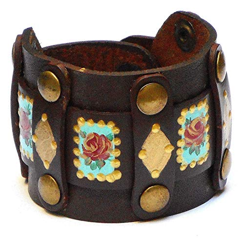 Bohemian Jewelry Adjustable Boho Brown and Gold Leather Cuff Studded Bracelet with Hand Painted Roses ()