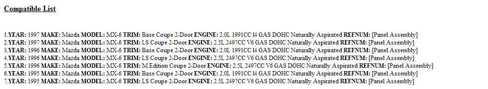 Mazda OEM 95-97 MX-6 Instrument Panel-Assembly GC1V55420A by Mazda (Image #2)