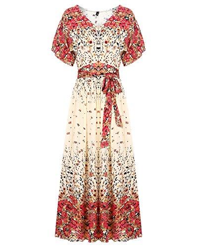 Mixfeer Women's Boho Split Tie-Waist Vintage Print Maxi Dress