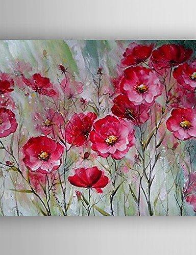 WEIAN Pittura di olio rosso dei fiori dipinti a mano con tela tesa ...