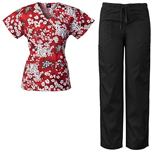 (Medgear Women's Scrubs Set Mock-Wrap Printed Top and Multi-Pocket Pants SHRE (S))