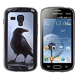 Qstar Arte & diseño plástico duro Fundas Cover Cubre Hard Case Cover para Samsung Galaxy S Duos / S7562 ( Crown Fairytale Movie Magical Bird Rain Tree)